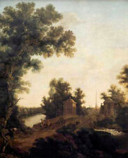 Oil painting The Stone Bridge in Gatchina near Constable Square landscape canvas