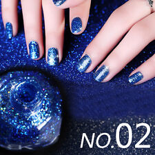 10ml Glitter Nail Art Shimmer Varnish Polish Royal Blue Sequins Design #02