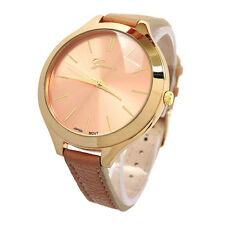 Beige Gold Geneva Slim Design Narrow Band Large Face Women's Fashion Watch