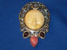 Sajen Hand Crafted Sterling Silver GemStone Pin/Pendant W/Goddess Face
