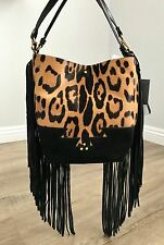 "NWT Jerome Dreyfuss Brown Black Suede Leopard Spotted Fringed ""Mario"" Bag $1135"