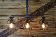 Edison Age Industrial 3- Cage Pendant Light, Steampunk, Pipe Light chandelier
