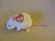 TY MWMT TINY THE WHITE MOUSE BEANIE BABY- SO SOFT AND CUTE- RETIRED AND RARE!