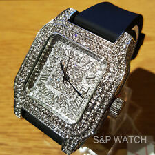 Men Techno Pave Fully Iced Out Simulated Diamond White Gold PT Silicone Watch