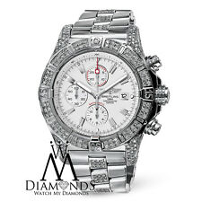 Mens Breitling Super Avenger A13370 White Dial Watch Diamond Bezel, Case, Lugs