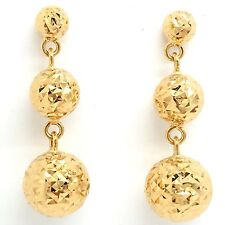 18k Yellow Gold Diamond Dangling Ball Earrings