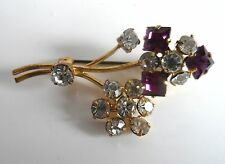 Vintage 40s Purple & Clear Diamante Gold Gilt Sparkling Brooch