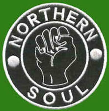 Iron On/ Sew On Embroidered Patch Badge Northern Soul Fist NS Black/ White