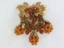 Gorgeous Interesting Miriam Haskell Pin with Amber Glass (PN1227)