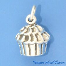 CUPCAKE FAIRY CAKE HEAVY 3D .925 Sterling Silver Charm