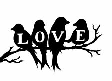 Framed Print - LOVE Birds Standing on Tree Branch (Picture Poster Black Word Art