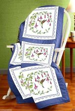 Janlynn Stamped Cross Stitch Pack 6 Quilt Blocks ~ HUMMINGBIRD #021-1758 Sale