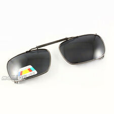 Polarized Square Sunglasses Full-Rim Frame Stretch Spring Clip-on on Eyeglasses