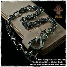Boka Dragon Scale Nickel Silver White Brass Biker Wallet Chain Harley Motorcycle