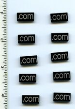 LEGO x 10 Black Tile 1 x 2 with Silver '.com' Pattern NEW website internet
