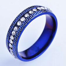 Vogue Blue stainless steel Clear CZ Mens Ring 10