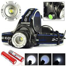 12000LM Zoomable CREE T6 LED Headlamp Rechargeable Headlight + 18650 Battery BS