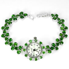 ARGENTO 925 Genuino Naturale ricco VERDE CHROME DIOPSIDE WATCH 7,5 Pollici