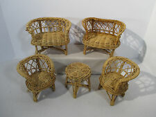 Doll Bear Rattan Furniture Sofa Chair Table Woven Toy Set of 5 Patio Garden