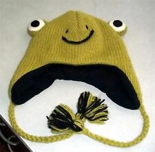 WORLD MARKET BEANIE WINTER HAT FROG FACE HEAD EYES GREEN WOOL WARM CHILD ADULT