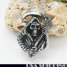 316L Stainless Steel Blue Eyed  Pendant Grim Reaper Skull Men's Necklace Chain