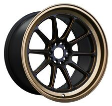 XXR 557 15x7 Rims 4x100/114.3 +15 Black / Bronze Wheels (Set of 4)