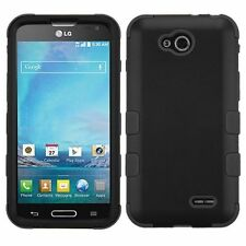For LG Optimus L90 Black Tuff Hard Silicone Hybrid Rubberized Case