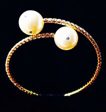 USA PEARL BRACELET use Swarovski Crystal Wedding Bridal Cuff Gold Fashion New