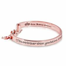 Disney Couture Official Authentic Rose Gold-plated Winnie the Pooh Quote Bangle