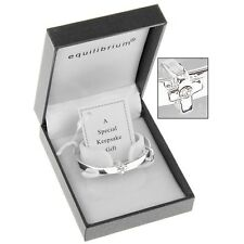 SILVER PLATED CHRISTENING BABY GIRL BANGLE BRACELET GIFT BOXED BY EQUILIBRIUM