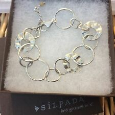 SILPADA Bracelet B1217 PAPER CHAIN .925 Sterling Silver Hammered Circle Links