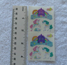Sandylion CASTLE & UNICORNS Strip of 2 Squares RETIRED Stickers RARE LIMITED