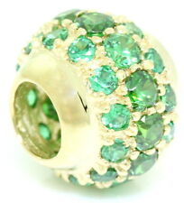 Emerald Green Cluster Ball 9ct 9K Solid Gold Bead Charm FIT EURO BRACELETS