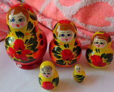 """YELLOW  flowers    Hand painted  RUSSIAN NESTING DOLL 5  PCS   3.0"""""""