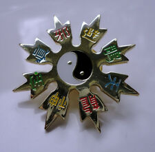 ZP49 Unusual Yin Yang Kung Fu Throwing Star Lapel Pin Badge Martial Arts Ninja