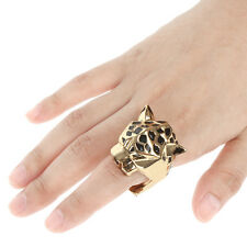H-Quality Animal Leopard Panther Cocktail Ring Sz 8 Enamel Zircon Eye -E491