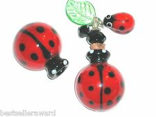 1 Murano Glass LADYBUG leaf oil Aroma perfume cork bottle pendant vial Necklace