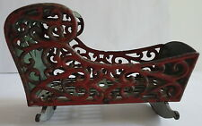 1870's Antique Cast Iron Metal Filigree Baby Doll Crib Original Paint