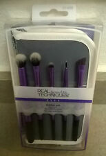 REAL TECHNIQUES Eyes Starter Set 5 Makeup Brushes NIB w/ case NEW LOOK FOR 2016