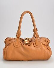 CHLOÉ Orange/Camel Brown Leather Paddington East West Tote Bag, $1390 Retail