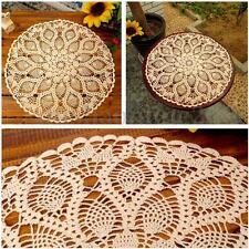 60cm Napperon Nappe TableTapis Ronde Coton Lace Dentelle Floral Main Crochet