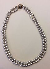 Vintage SIGNED MIRIAM HASKELL silver Baroque Pearl Double strand NECKLACE