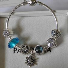 """New Authentic PANDORA Smooth Bracelet Lock 7.1"""" With Silver Charms & Beads"""