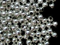 100 x 3mm Smooth Silver Plated Spacer Beads Craft Findings FREE UK P+P i150