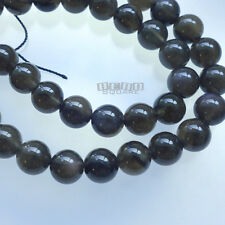 """15.5"""" Natural Gray Black Obsidian Round Beads 8mm w/Flash, Translucent #11259"""