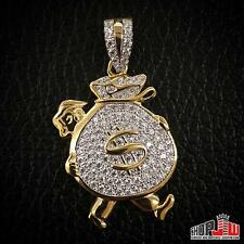 Mens Gold Finish .925 Silver Iced Out Money Bag Dollar Sign Pendant Hip Hop New