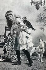 Scared Kitten Dog Chasing Cat 1885 Leopard Throw YoungGirl Matted Antique Print