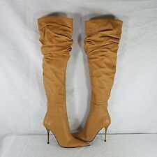 Gianmarco Lorenzi Italy Slouch Boots Leather Caramel Stiletto Heel EU 37 US 6.5