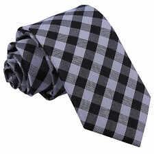 New DQT Gingham Check Men's Slim Tie - Black