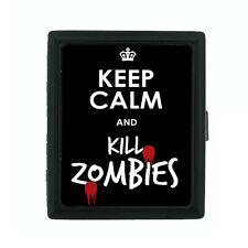 Metal Cigarette Case Holder Box Keep Calm and Kill Zombies Design-021